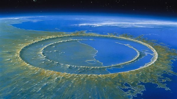 An image depicting the Chicxulub Crater near the Yucatan Peninsula in Mexico
